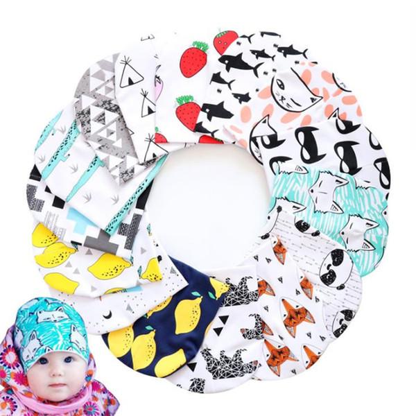 best selling New children's hat cartoon animal print headgear double warm hat baby hats Cute Infant Cap T8G017