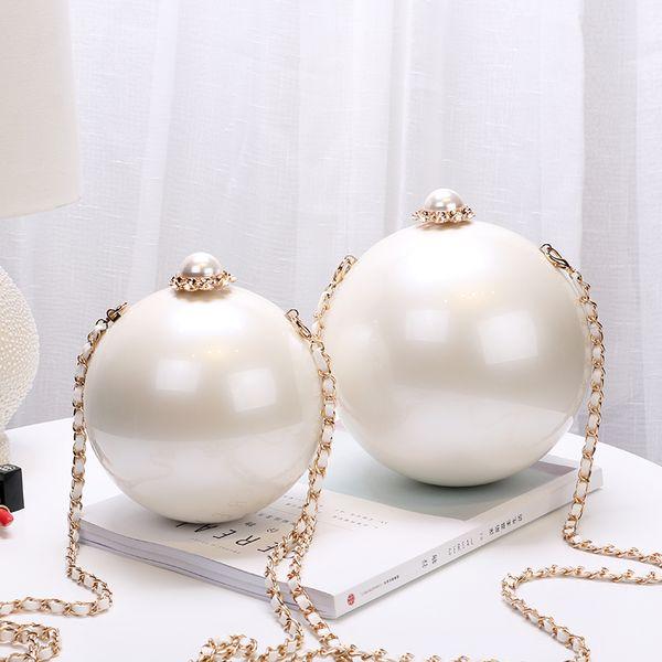 2019 White Pearl borsa a spalla da sera per donna borsa a tracolla in materiale acrilico con 2 misure