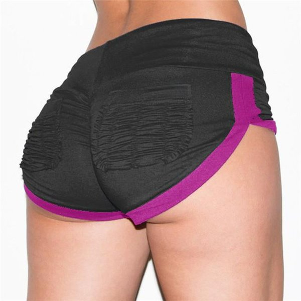 Women Yoga Hot Shorts Skinny Drape Sexy Sports Shorts Slim Running Contrast Color Short Pants New