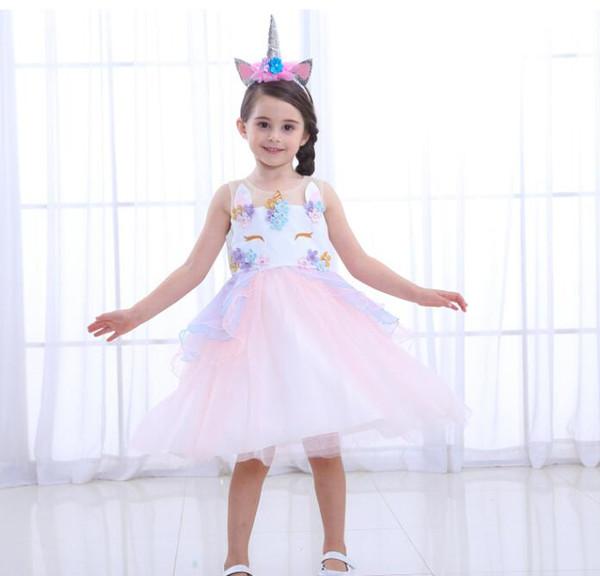 Fancy Kids Unicorn Tulle Dress per le ragazze Ricamo Abito di sfera del fiore del bambino Ragazza principessa Abiti Costumi del partito di nozze Unicornio