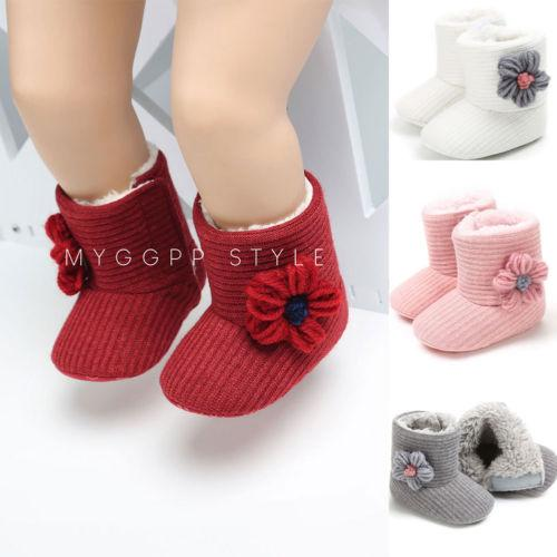Newborn Baby Girl Winter Warm Cotton Diamonds Shoes Snow Boots Kids Toddler Infantil Thermal Bowknot Shoes Soft Sole Mocassins