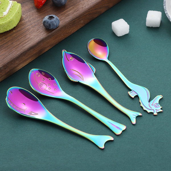 top popular Magic Color Coffee Mixing Spoons Puffer Fishes Whales Dolphins Spoon Originality Marine Animal Dinnerware With Different Colors 4 5xc2 J1 2019