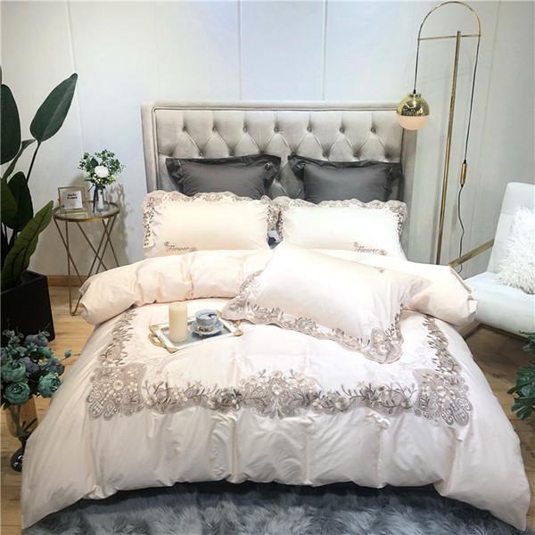 4 Unids rosa Crema de lujo juego de cama de algodón Egipcio reina rey juego de cama bordado chino funda nórdica hoja de cama funda de almohada