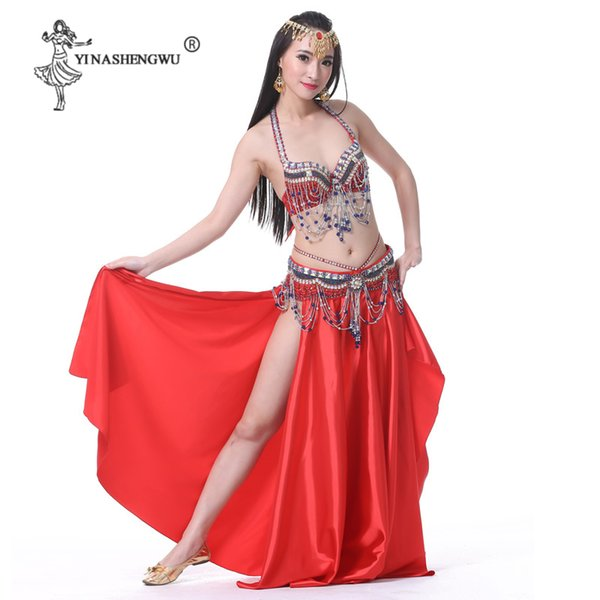 New Women Belly Dance Costume Sets Newest Belly Dance Wear Split Skirt Bra Belt Crystal Tassel Dancing Stage