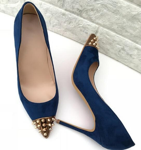 New Style Women Rivet Red Bottom Shoes Tibetan-blue Suede Pointed, 12-10-8cm High Seel Shoes Shallow Mouth Studded Spiked Dress Shoes