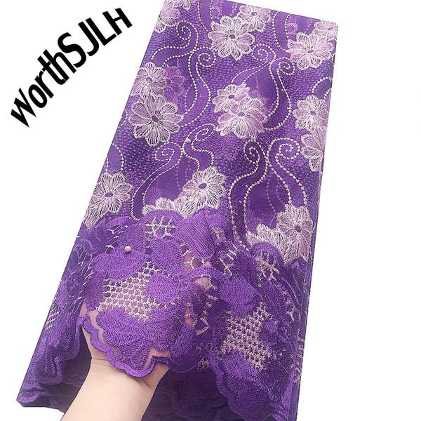Vestido para las telas puple tela africana del cordón 2019 de la alta calidad de encaje de tul francés tela de acoplamiento moldeados Stones Nigeria cordón suizo