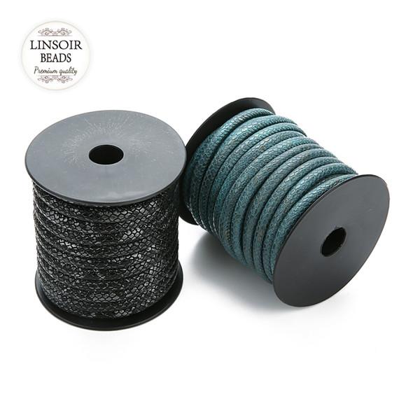 Comercio al por mayor 10 m / roll Dia 6mm Patrón de Piel Cordones de Cuero de LA PU Cuerda Cuerda Cuerda Para DIY Joyería Que Hace Los Materiales de Alta Calidad