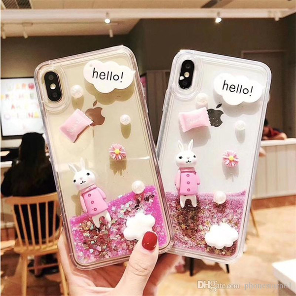 Cute Girl Dynamic Cartoon Bling Quicksand Liquid Flowing Glitter Star TPU Rabbit Phone Case Cover Shell For iPhone 6 7 8 Plus X XS XR XS Max