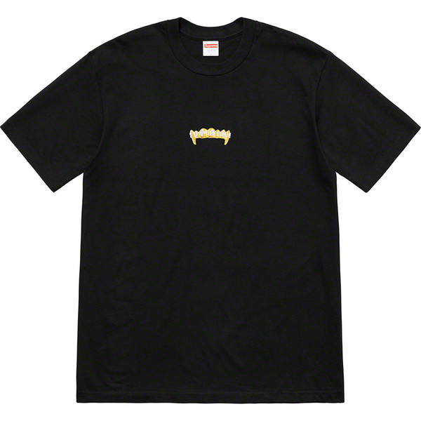 2019 Summer New Fronts Tee Gold Tooth Vampire Short Sleeve T-Shirt Men and Women tee Black White Gray S-XL