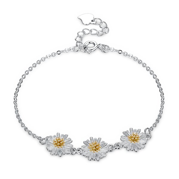 S925 Sterling Silver Twist Chain Charm Bracelets Sterling silver three chrysanthemum simple female little Flowers Bangles Jewelry POTALA008