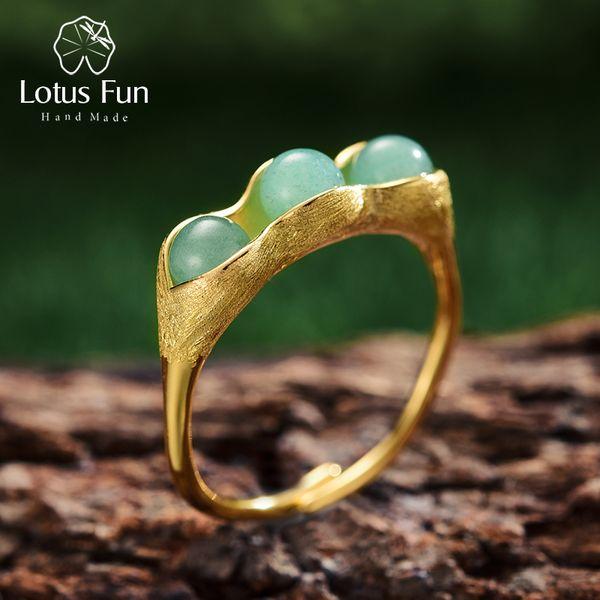 Lotus Fun Real 925 joyería fina hecha a mano de plata esterlina piedras verdes naturales Creative Pea Pods Anillos para mujeres J 190430