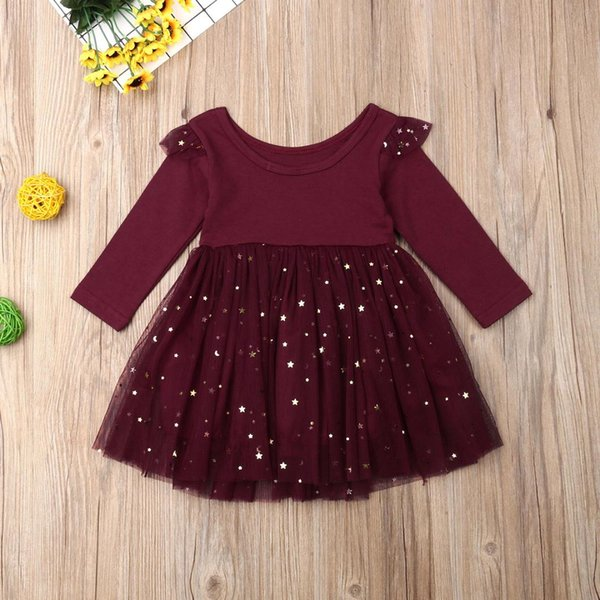 Kids Baby Flower Girls Long Sleeve Stitching Party Sequins Dress Wedding Bridesmaid