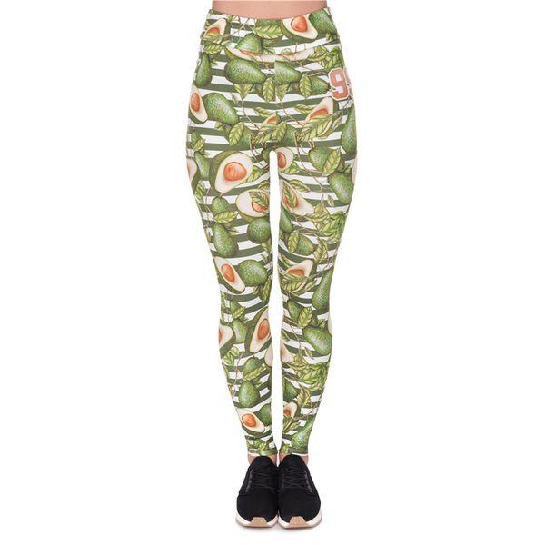 Fashion Female Green Avocado High-waist Sexy Printed Legging Fitness Pants