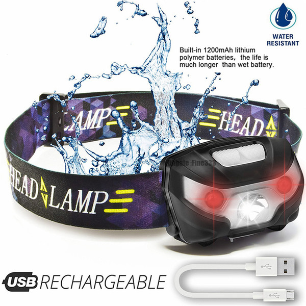 LED Headlamp Rechargeable Running Headlamps USB 5W Headlight Perfect for Fishing Camping Hiking with White and Red Lights