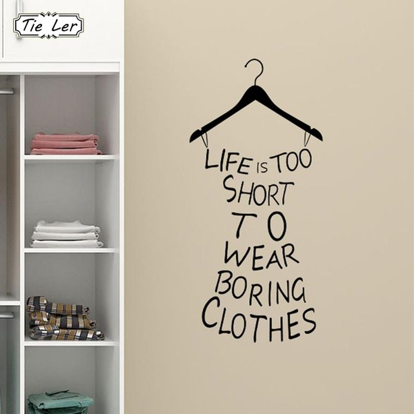 Pvc Life Is Too Short Fitting Room Wardrobe Home Decorations Mural