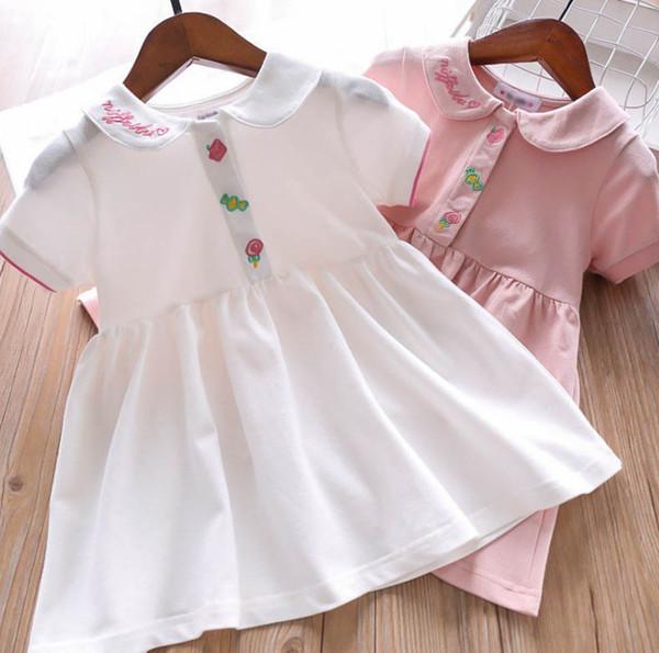 2019 Summer Girls dress kids love heart letter embroidery lapel short sleeve dress children candy lollipop embroidered princess dress F4649