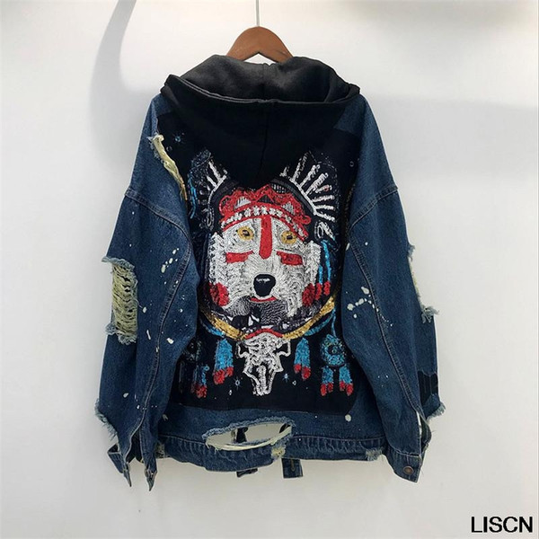 cool new denim jacket vintage sequined wolf pattern denim jacket coat women casual loose hooded jackets outwear oversize, Black;brown