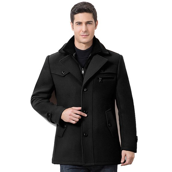 Мужские Зимние Утолщенные Теплые шерстяные пальто на молнии Стенд воротник сплошной цвет Бизнес Повседневный тренчкот Мужчины