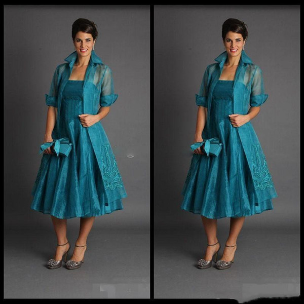Plus Size Short Mother of The Bride Jacket Dresses Sleeveless Tea Length Green Suits Evening Gowns Cheap Organza