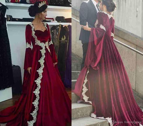 2019 Nuevo árabe Dubai manga larga Kaftan vestido de noche de la vendimia modesto barato Borgoña formal vestido de fiesta de la celebridad por encargo más tamaño