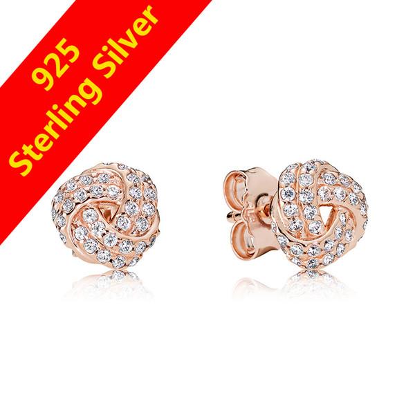NUEVA Moda Cristal 18 K Rose Gold Knot Pendiente Original caja para Pandora 925 Pendientes de Plata de ley Para Mujeres Joyería de Regalo de Las Niñas