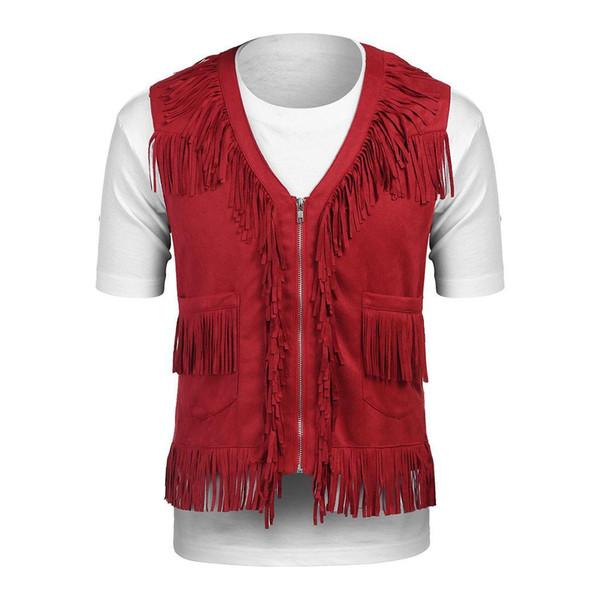 Herrenmode mit V-Ausschnitt ärmellos Western Casual Winter, Frühling, Herbst Troddel Weste Reißverschluss-Tasche, solide