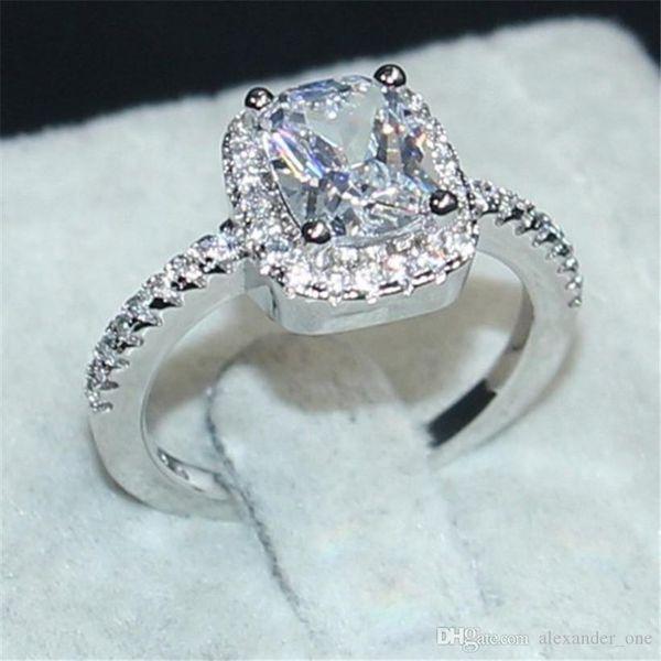 Ebedi 925 Ayar Gümüş Takı Prenses kesim 3CT Beyaz Topaz Pırlanta Yüzük parmak Düğün Band Yüzük Kadınlar için Boyutu 5,6,7,8,9,10