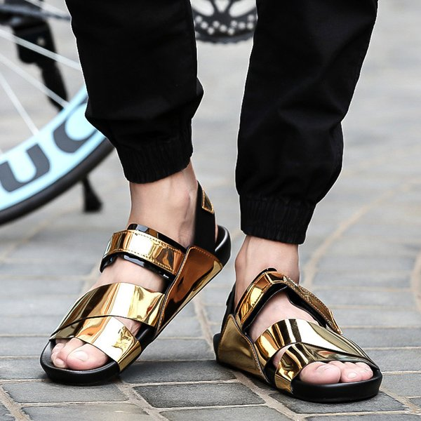 Bling Sequins Summer Men Sandals PU Leather Male Sandal Hot Sale Summer Beach Men Shoes Fashion Slides Flip Flops Thong