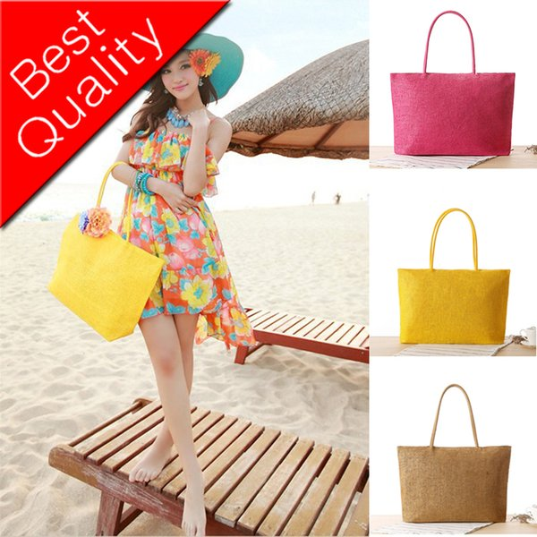 Handmade Women Shoulder Bag Summer Beach Bag Woven Rattan Knitted Straw Bag Big Totes Travel Women Handbag Shopping Casual Bohe