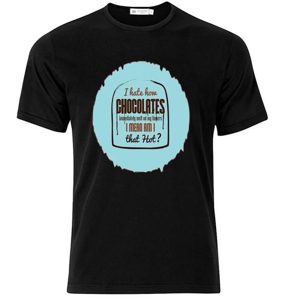Chocolates Melt On My Fingers - Graphic Cotton T Shirt Short & Long Sleeve