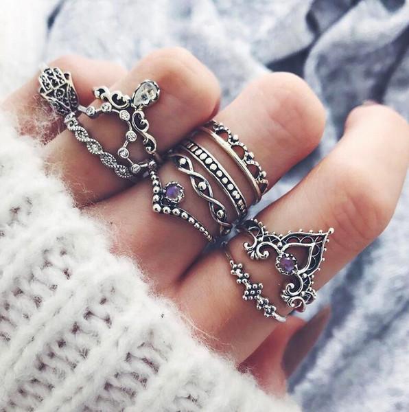 Retalho e por grosso de luxo Designer Jóias mulheres anéis anel de diamante roxo Set oco Crown Anel Combinação 10 Pieces Fabricante
