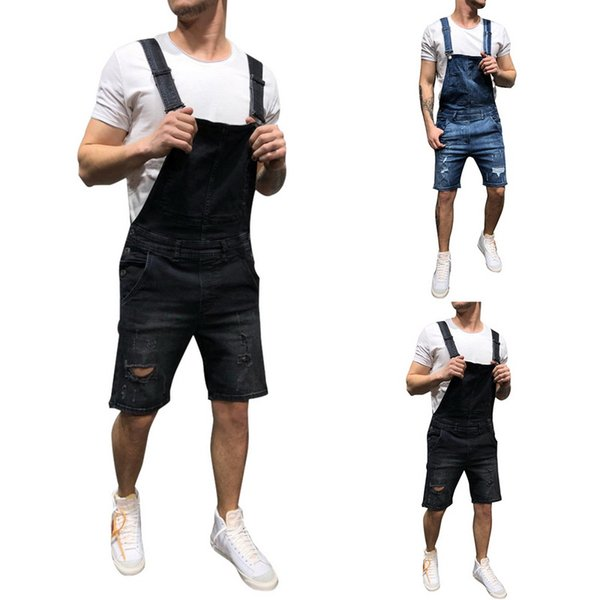 Mens trou hip hop Ripped short Jeans Combinaisons Distressed Denim Salopette longueur au genou Jarretelles pantalon cowboy Taille S-XXXL