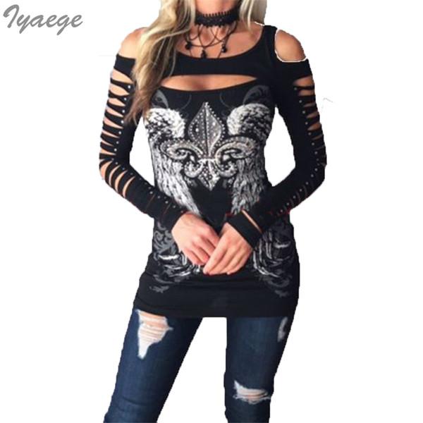 Kadınlar Plus Size Tişörtlü Vintage Tişört Grafik Uzun Kollu T-shirt Tee Göğüs Delik Wings Punk Tişört Tişört Seksi Bayanlar Y200109 Tops