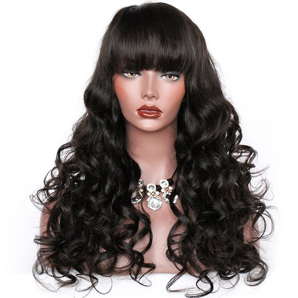 Unprocessed bangs new virgin human hair natural color big curly long full lace top wig for sale