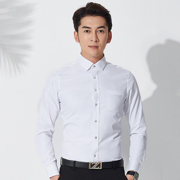 Camicie da uomo di alta qualità di grandi dimensioni tinta unita ufficio usura camicia da uomo camicia da uomo manica lunga business casual slim camicia
