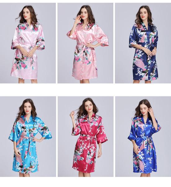 Frauen Silk Satin Nachtwäsche Sexy Flower Peacock Printed Nightgown halben Ärmel Dame Mädchen lange Kimono Lounge