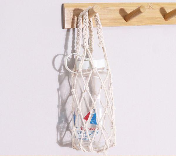 Macrame Wine Totes Woven Cotton Rope Drink Bottle Sling Mini Pouch Bottle Bag Macrame Wine Holders Wholesale