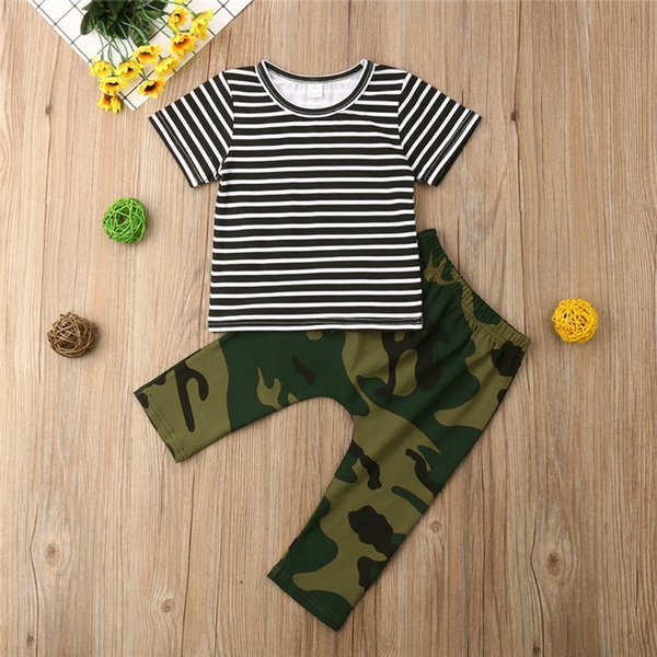 Summer Boys kids clothes Set Round collar Short Sleeve Striped T-shirt top+Camouflage trousers 2 pcs kids designer clothes boys JY499