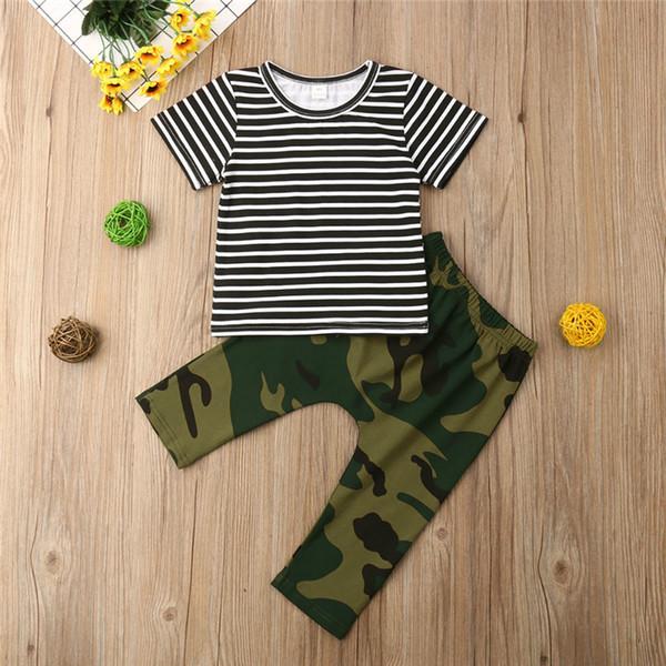 Yaz Erkek çocuk giyim Set Yuvarlak yaka Kısa Kollu Çizgili Tişört üst + Kamuflaj pantolon 2 adet çocuk giysi tasarımcısı boys JY499