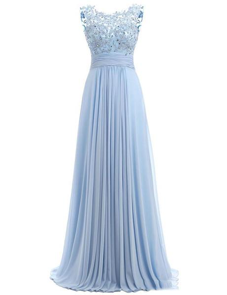 Blue Prom Dress Cap Sleeve 2019Robe Ceremonie Femme Long Elegant Evening Dresses Floor Length Party Gowns Graduation Dresses