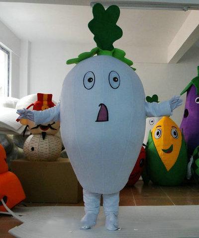 Профессиональные пользовательские редька костюм талисмана мультфильм белая редька овощи характер одежды рождество хэллоуин ну вечеринку необычные платья