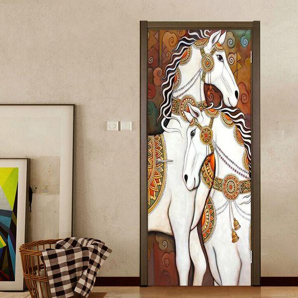 Self-Adhesive Door Sticker European Style Luxury Horse Oil Painting Mural Wallpaper Living Room Waterproof Home Decor Wall Paper