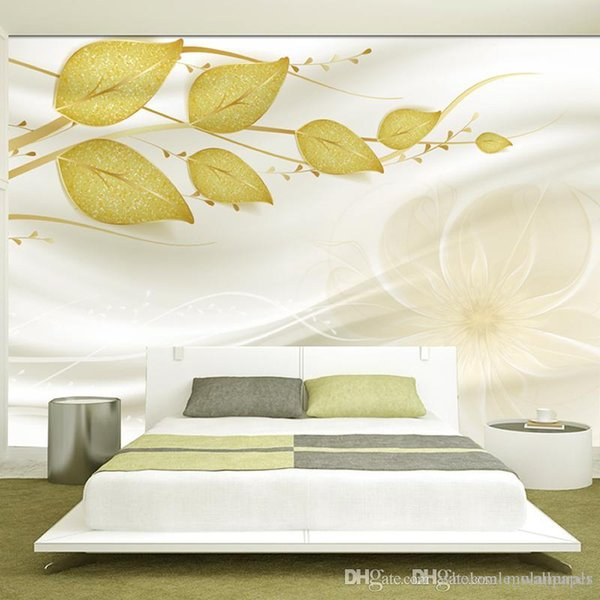 Custom photo 3d wallpaper Non-woven Fabric mural wall Green vine space 3 d TV setting wall stripe green leaves wallpaper