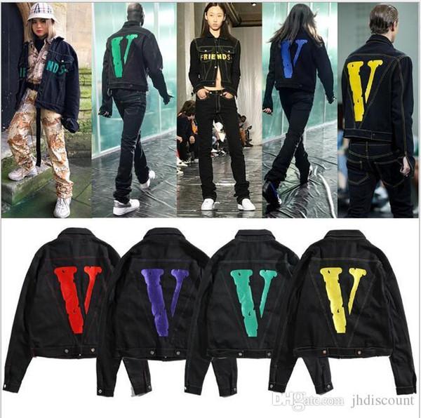 Lettre de vente chaude Marque Hommes Jean Vestes V Imprimé Jean Manteau à manches longues Denim Automne Tops Hip Hop Harajuku Sweatshirts Vêtements pour hommes