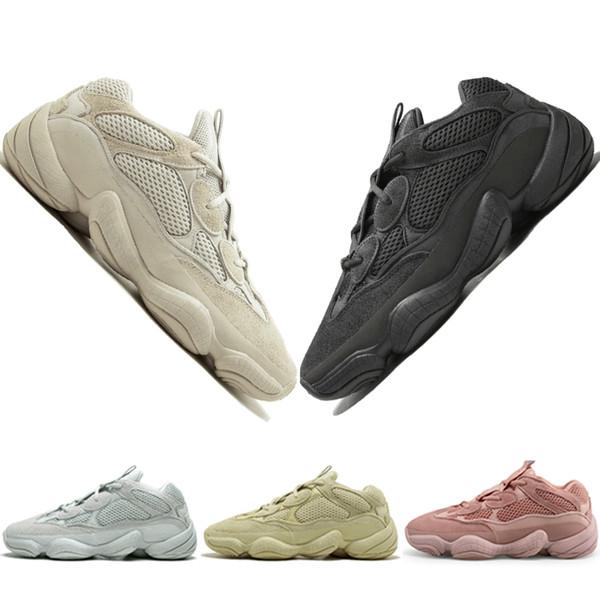 с коробкой Kanye West 500 Desert Rat Blush 500s Соль Super Moon Yellow Utility Черные мужские кроссовки для мужчин, женщин спортивные дизайнерские кроссовки