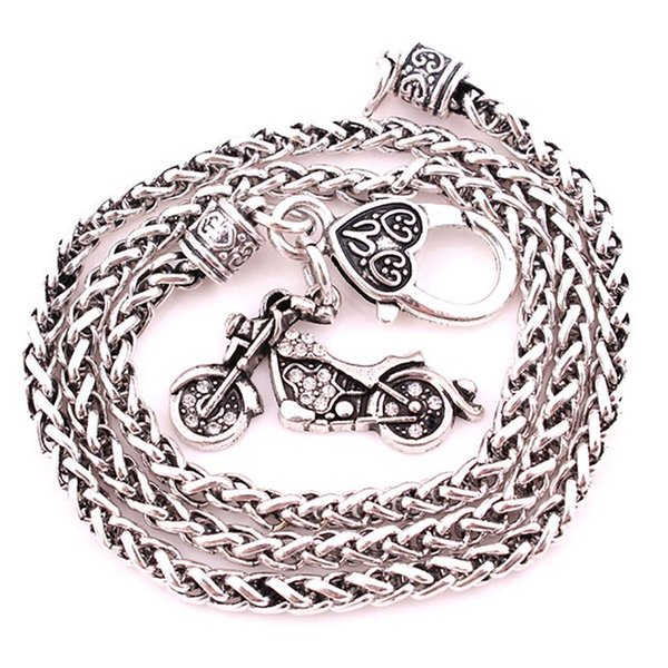 Rock Style Necklace Crystals Motorcycle Rook Charm Pendent Necklaces For Women Men Jewelry