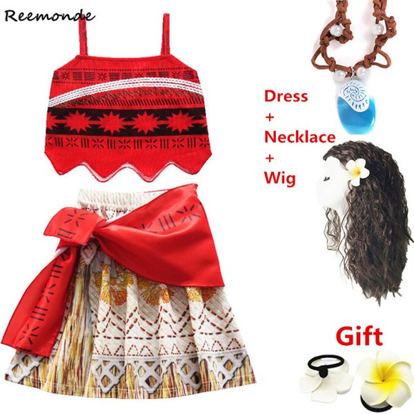 MovieCostumes Princess For Children Skirt Necklace Swimsuit FantasiaSynthetic Wigs Hair Kids Girls Fancy Dress