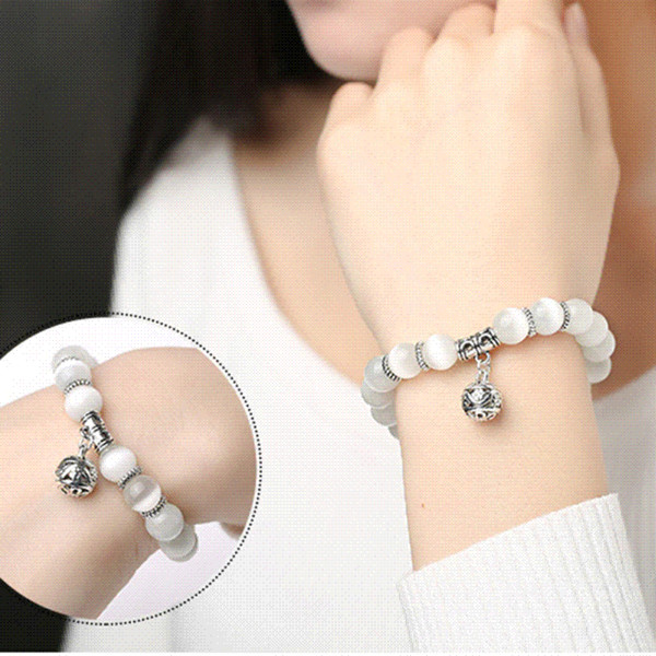 Natural opal beads bracelets crystal fashion women bracelet vintage stainless steel braceletes for women 370539 wholesale