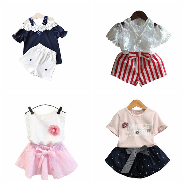 6 different design baby girls summer boutiques outfits lace flower tops+shorts or skirts 2pcs set girl fashion suit with pearl chiffon