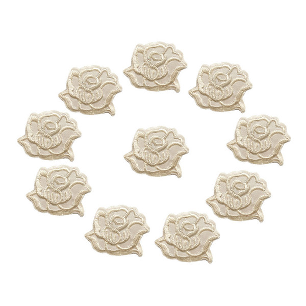 10PCS Embroidered Patches Apricot Rose Sew Iron On Badges Flowers 4CM For Jeans Tablecloth Dress Shirt DIY Appliques Craft Decoration